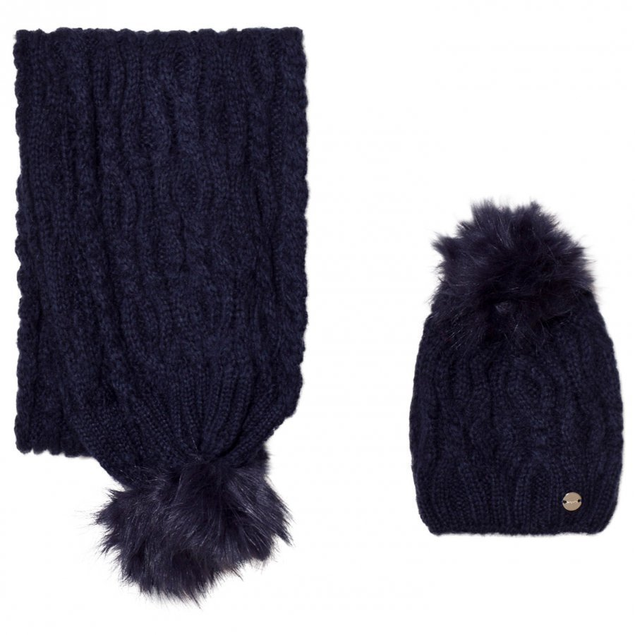 Mayoral Navy Chunky Knit Hat And Scarf Set Hattu Huivi Ja Hanskat Setti