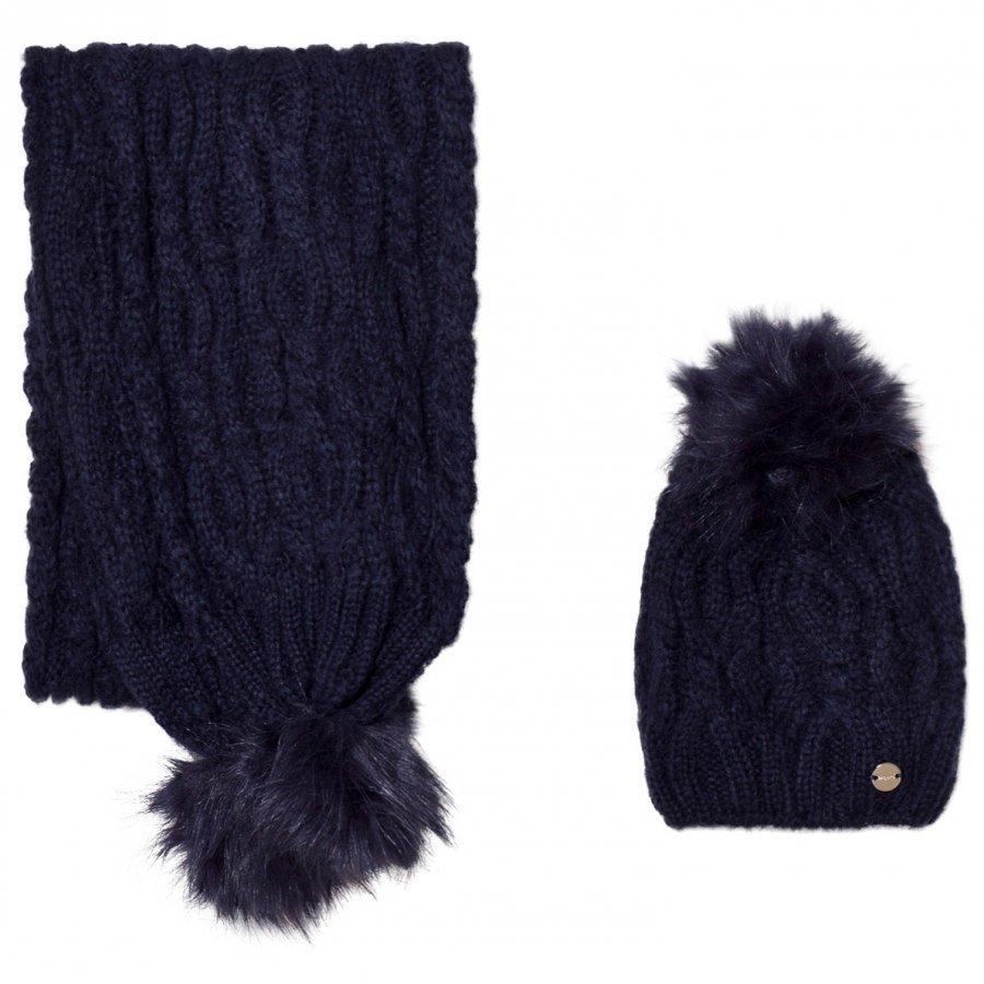 Mayoral Navy Chunky Knit Hat And Scarf Set Hattu Huivi Ja Hanskat Setti