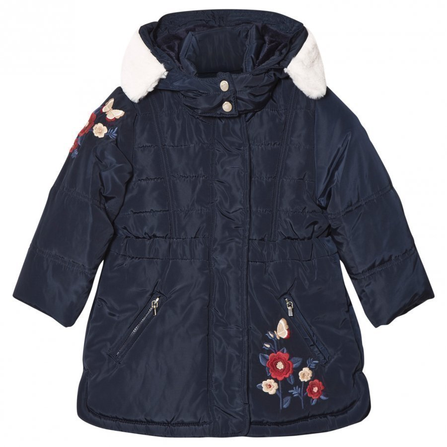 Mayoral Navy Floral Embroidered Hooded Coat Toppatakki