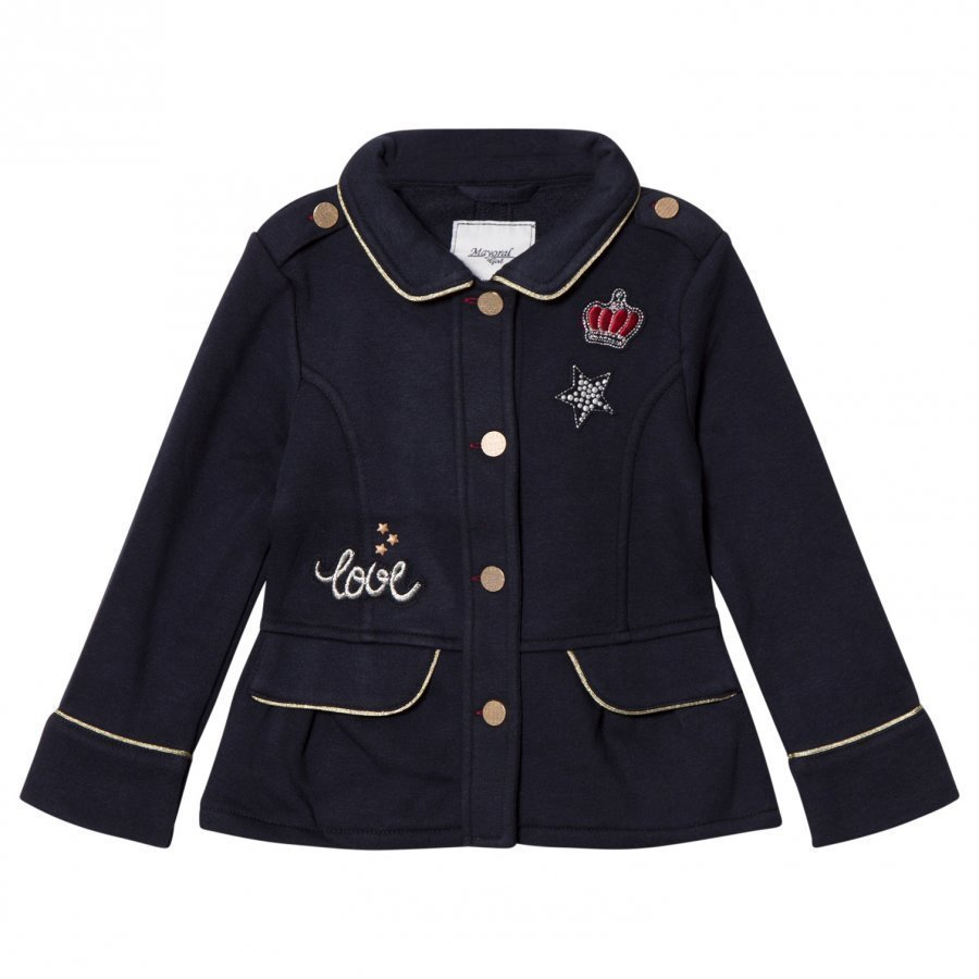 Mayoral Navy Jersey Badge Applique Fleece Jacket Armeijatakki