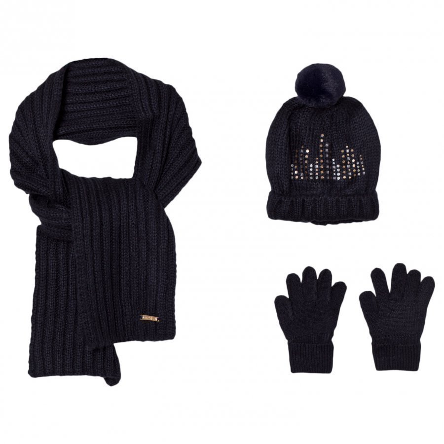 Mayoral Navy Knitted Pom Pom Hat Scarf And Mittens Set Hattu Huivi Ja Hanskat Setti