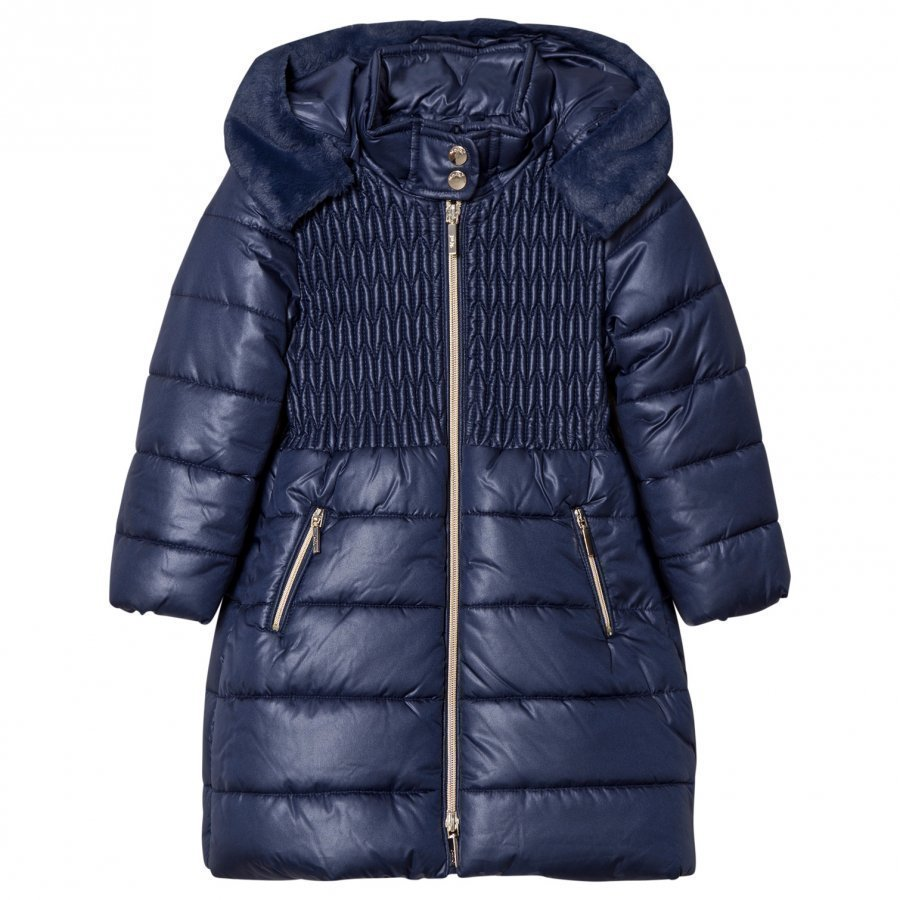 Mayoral Navy Long Line Hooded Puffer Coat Toppatakki