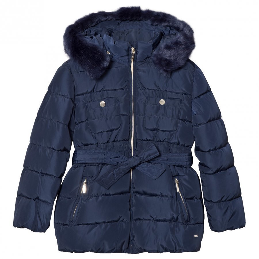 Mayoral Navy Padded Hooded Coat With Waist Tie Toppatakki