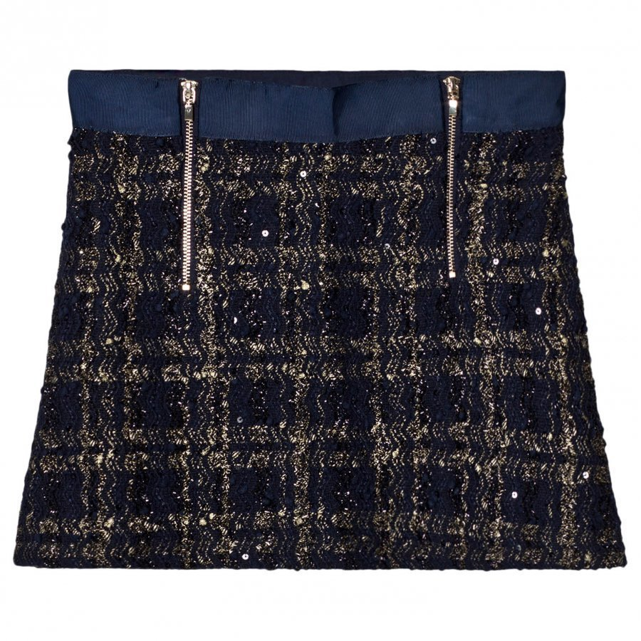Mayoral Navy Tweed Zip Skirt Lyhyt Hame