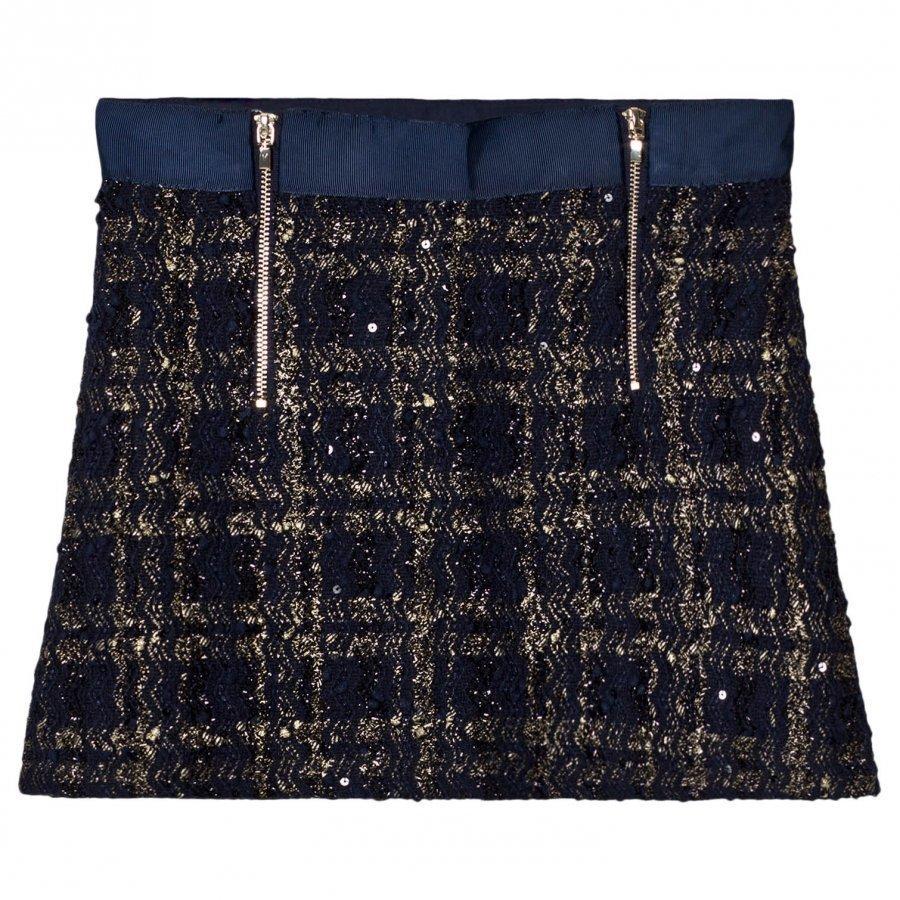 Mayoral Navy Tweed Zip Skirt Lyhyt Hame