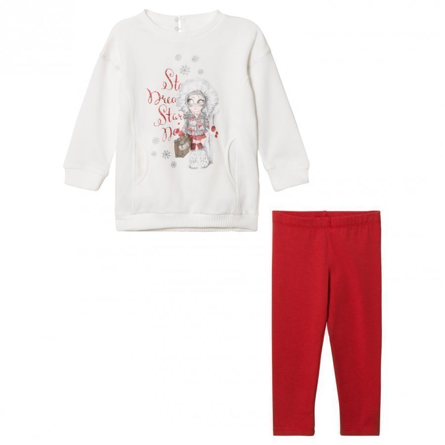 Mayoral Off-White And Red Ski Girl Sweat Dress And Leggings Set Asusetti
