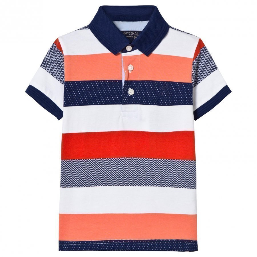 Mayoral Orange And Navy Stripe Polo Pikeepaita