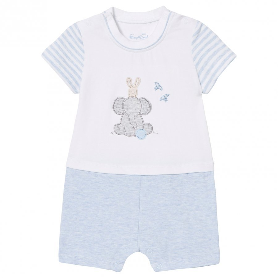 Mayoral Pale Blue Elephant And Bunny Romper Puku
