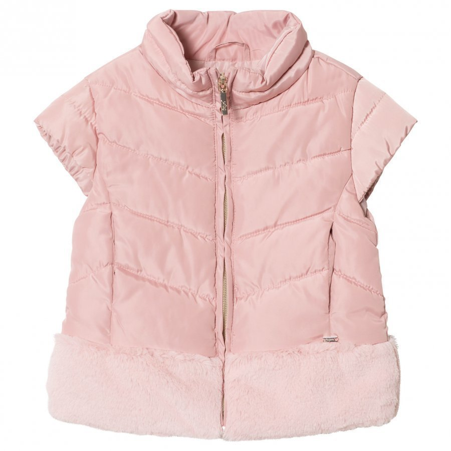 Mayoral Pale Pink Padded Faux Fur Gilet Toppaliivi