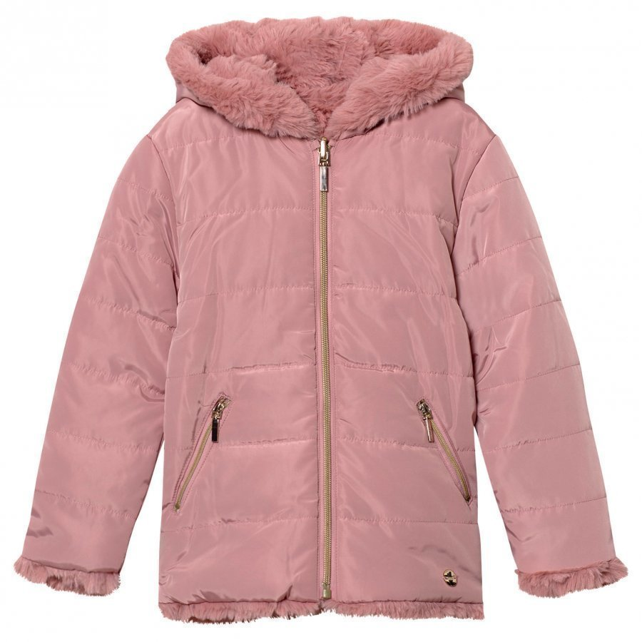 Mayoral Pale Pink Reversible Faux Fur Coat Turkis