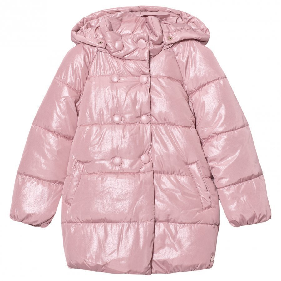 Mayoral Pale Pink Shimmer Hooded Padded Coat Toppatakki