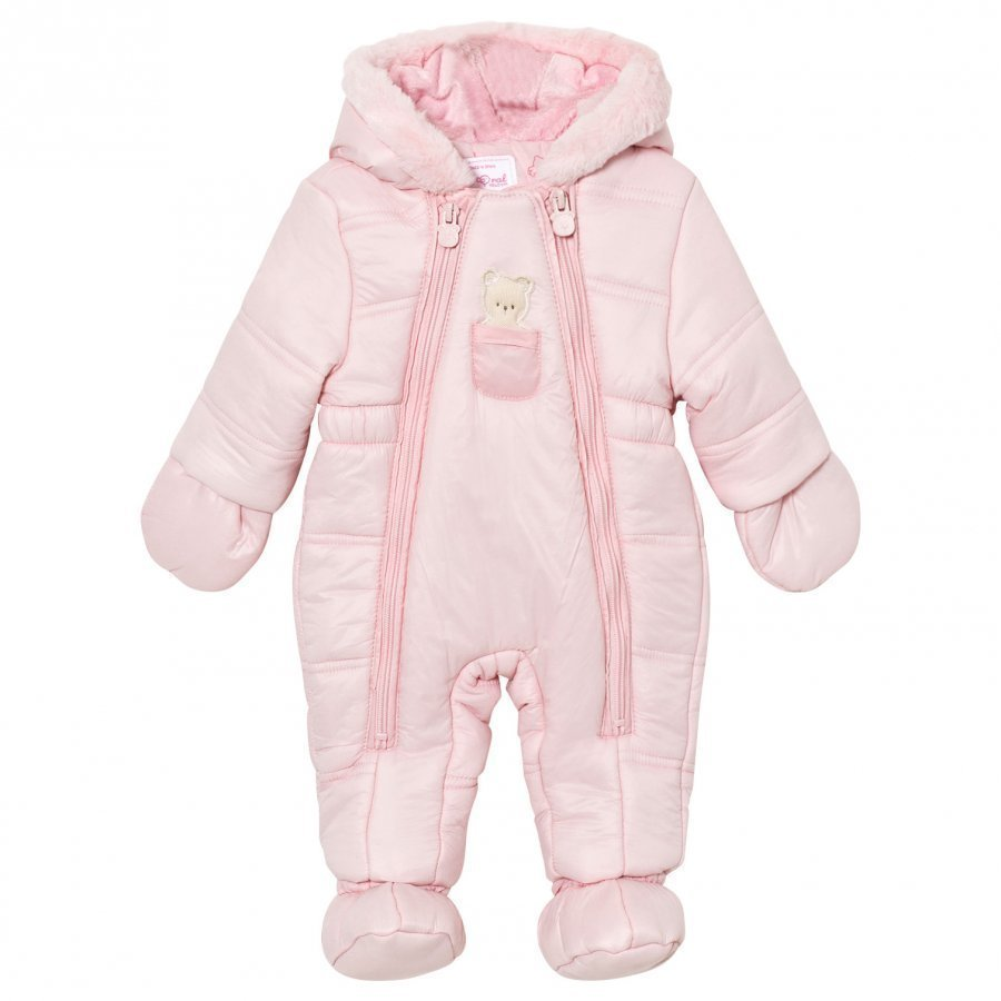 Mayoral Pink Bear Hooded Snowsuit With Detachable Mittens And Booties Vauvan Haalari