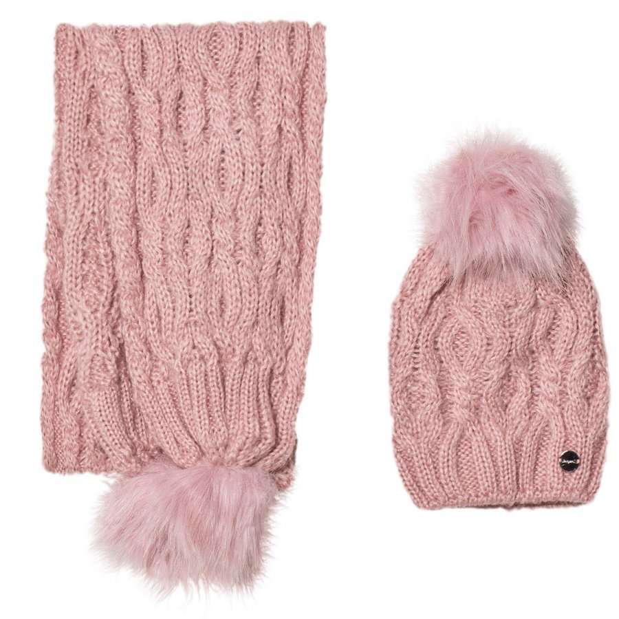 Mayoral Pink Chunky Knit Hat And Scarf Set Hattu Huivi Ja Hanskat Setti