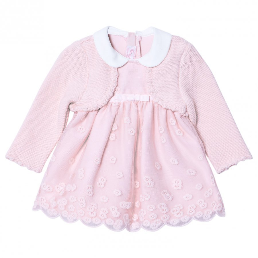 Mayoral Pink Embroidered Dress With Attached Cardigan Asusetti