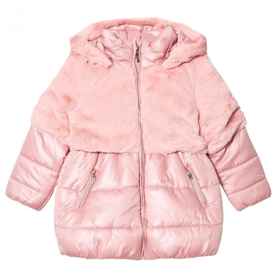 Mayoral Pink Faux Fur And Padded Coat Toppatakki