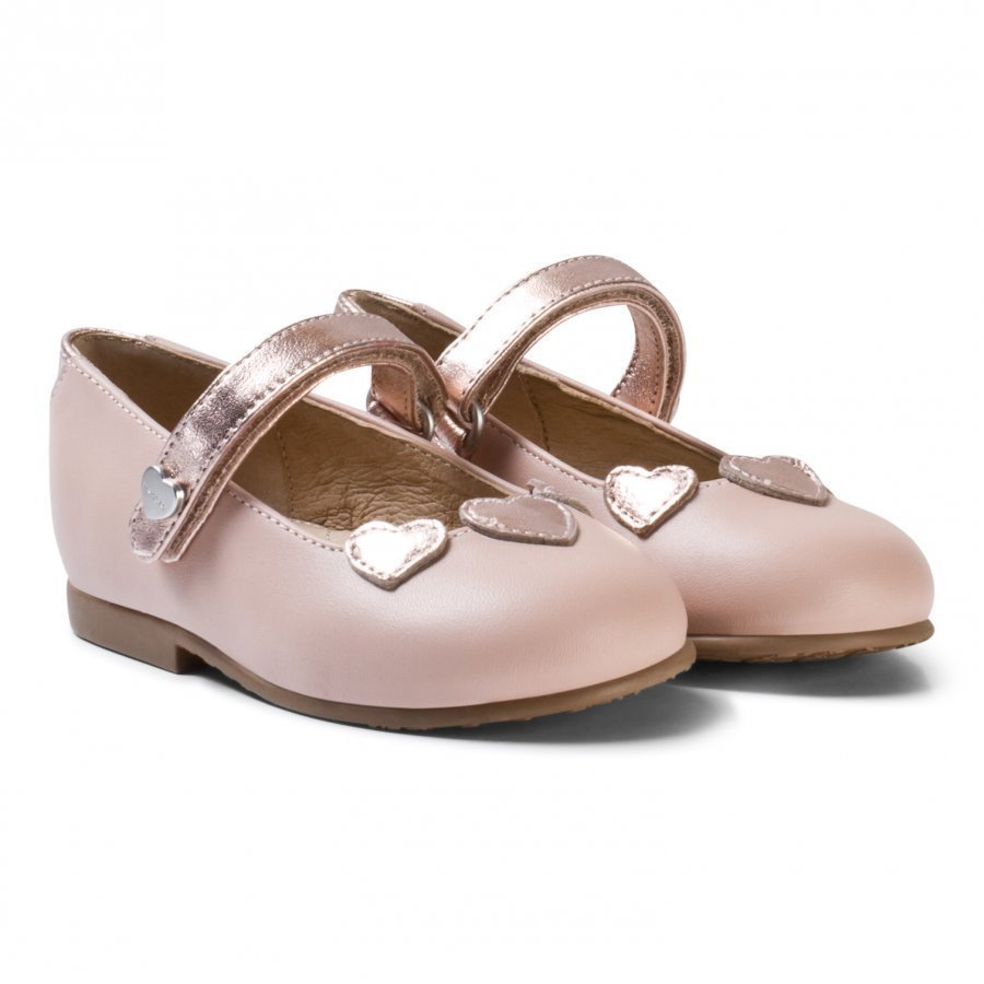 Mayoral Pink Heart Applique Leather Mary Janes Maryjane Kengät