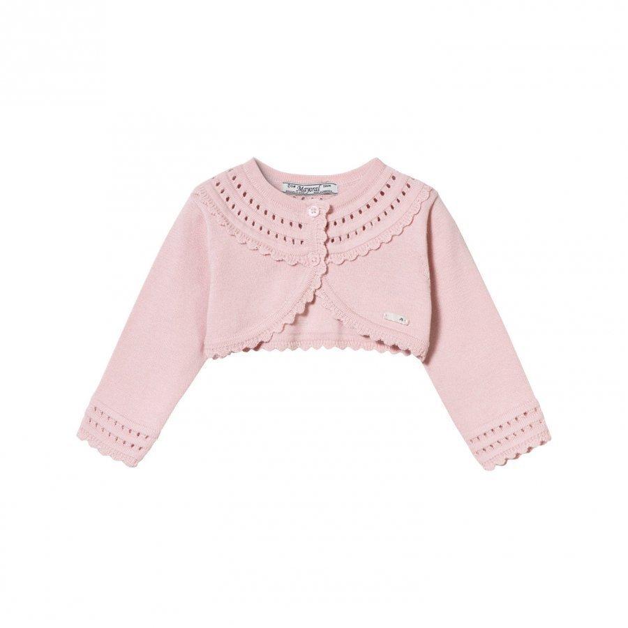 Mayoral Pink Knit Collar Bolero Neuletakki