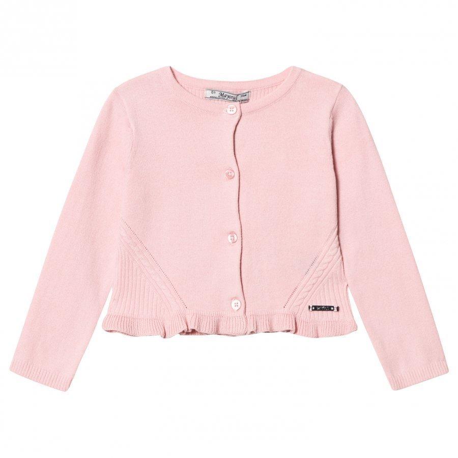 Mayoral Pink Knitted Cardigan With Frill Hem Neuletakki