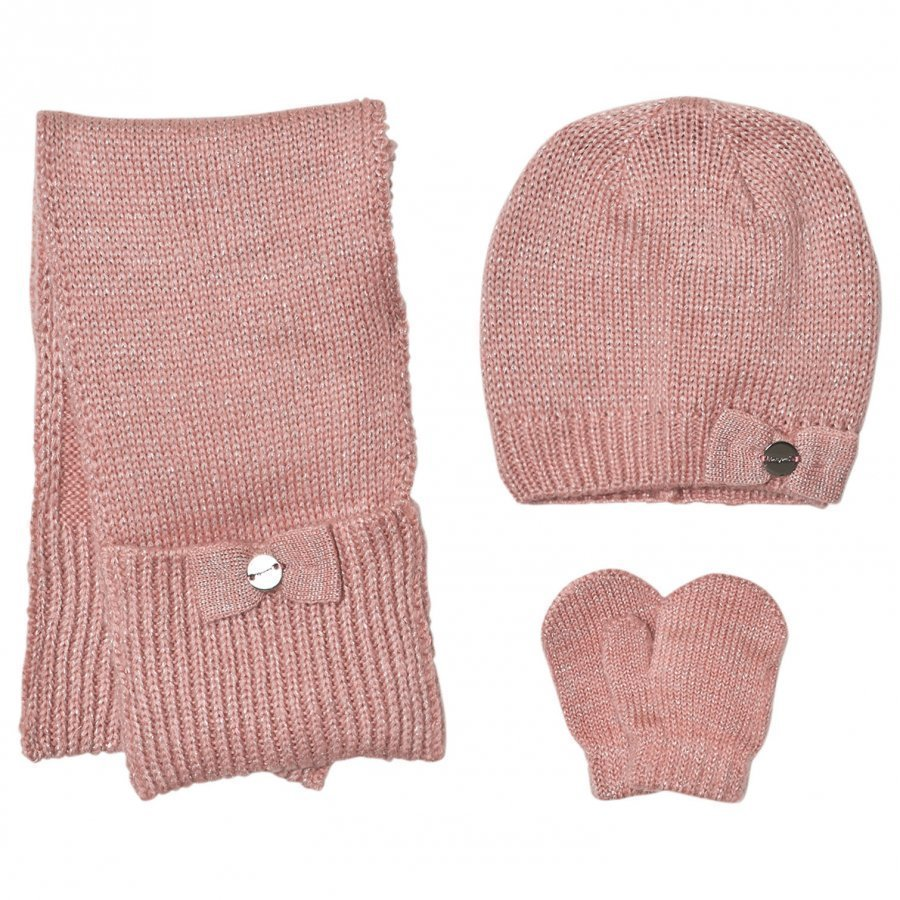 Mayoral Pink Knitted Hat Scarf And Mittens Set Hattu Huivi Ja Hanskat Setti