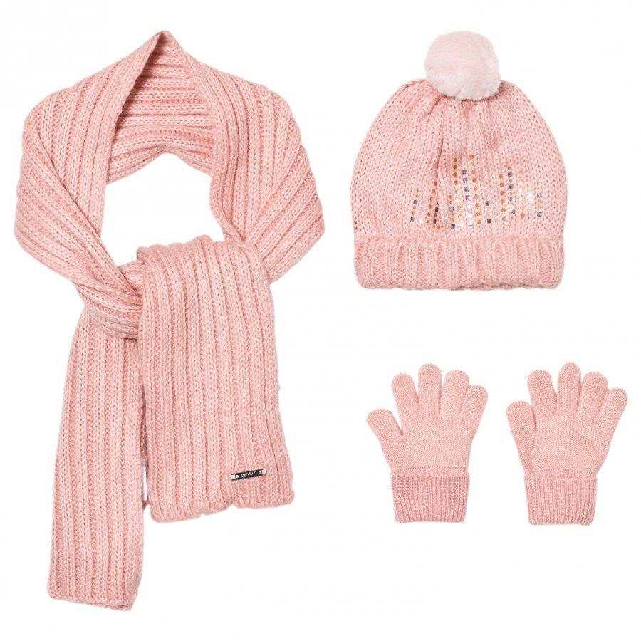 Mayoral Pink Knitted Pom Pom Hat Scarf And Mittens Set Hattu Huivi Ja Hanskat Setti
