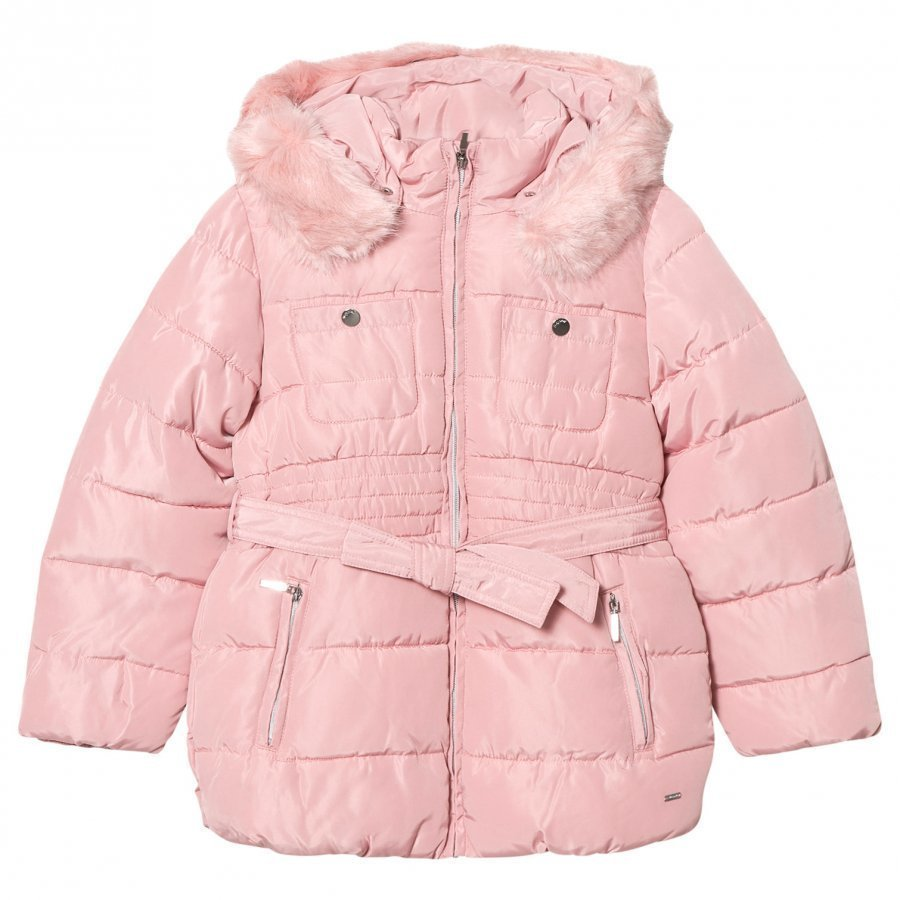 Mayoral Pink Padded Hooded Coat With Waist Tie Toppatakki
