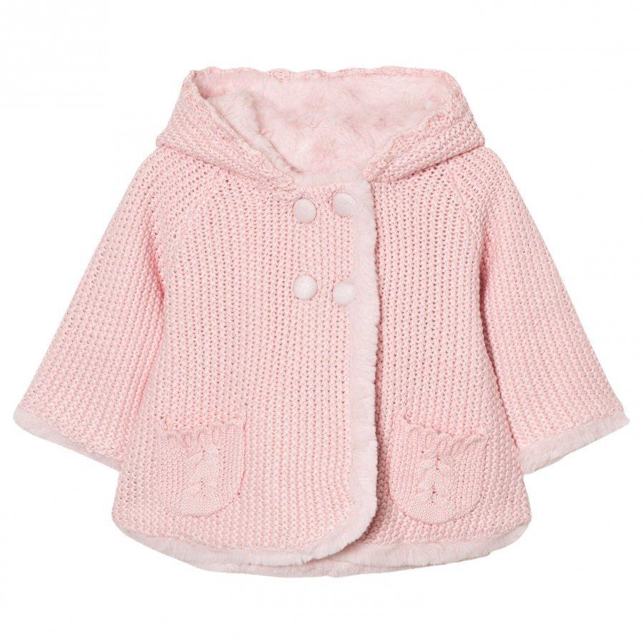 Mayoral Pink Pom Pom Knitted Cardigan Neuletakki