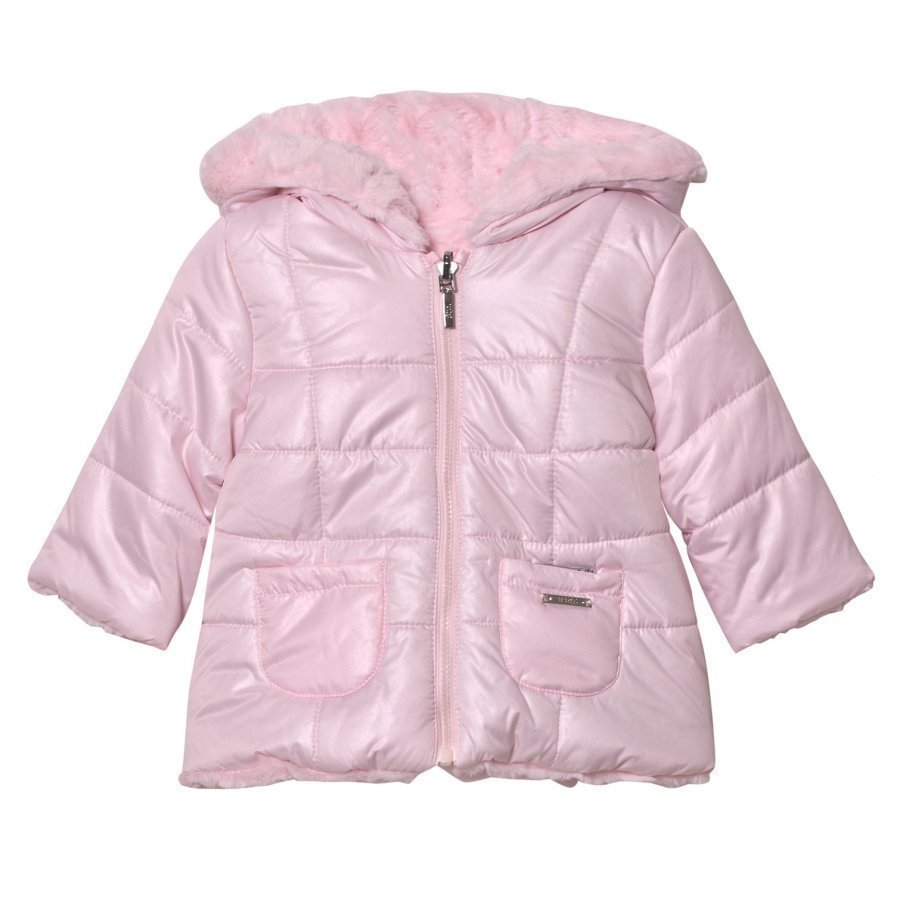 Mayoral Pink Reversible Faux Fur Hooded Coat Toppatakki