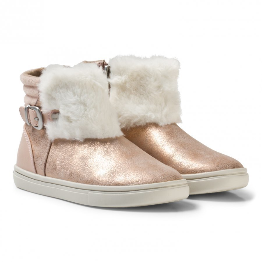 Mayoral Pink Shimmer Faux Fur Boots Nilkkurit