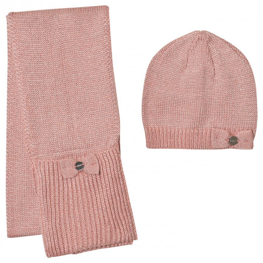 Mayoral Pink Sparkly Knitted Hat And Scarf Hattu Huivi Ja Hanskat Setti