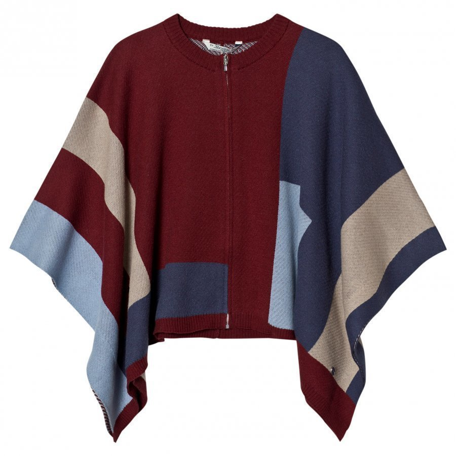 Mayoral Red And Blue Knit Poncho Paita