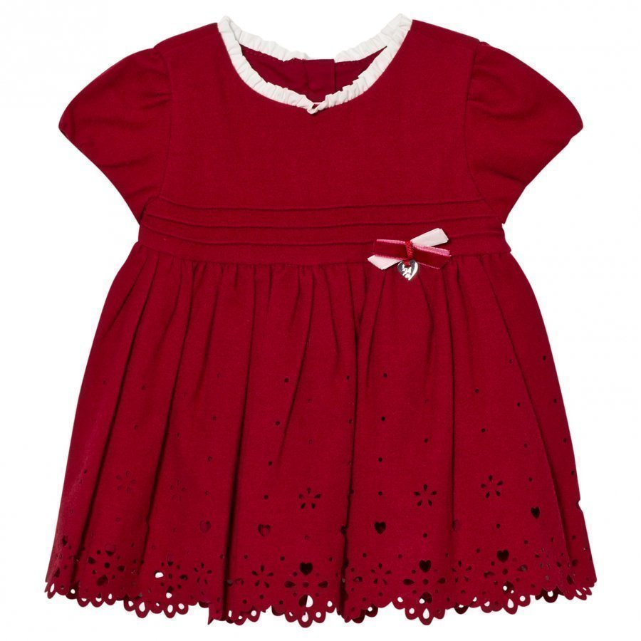 Mayoral Red Heart Embroidered Dress Juhlamekko