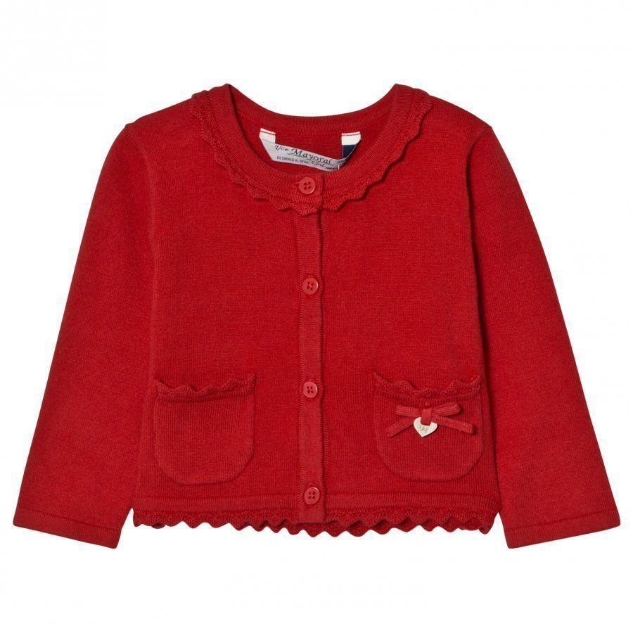 Mayoral Red Knit Cardigan With Scalloped Collar Neuletakki