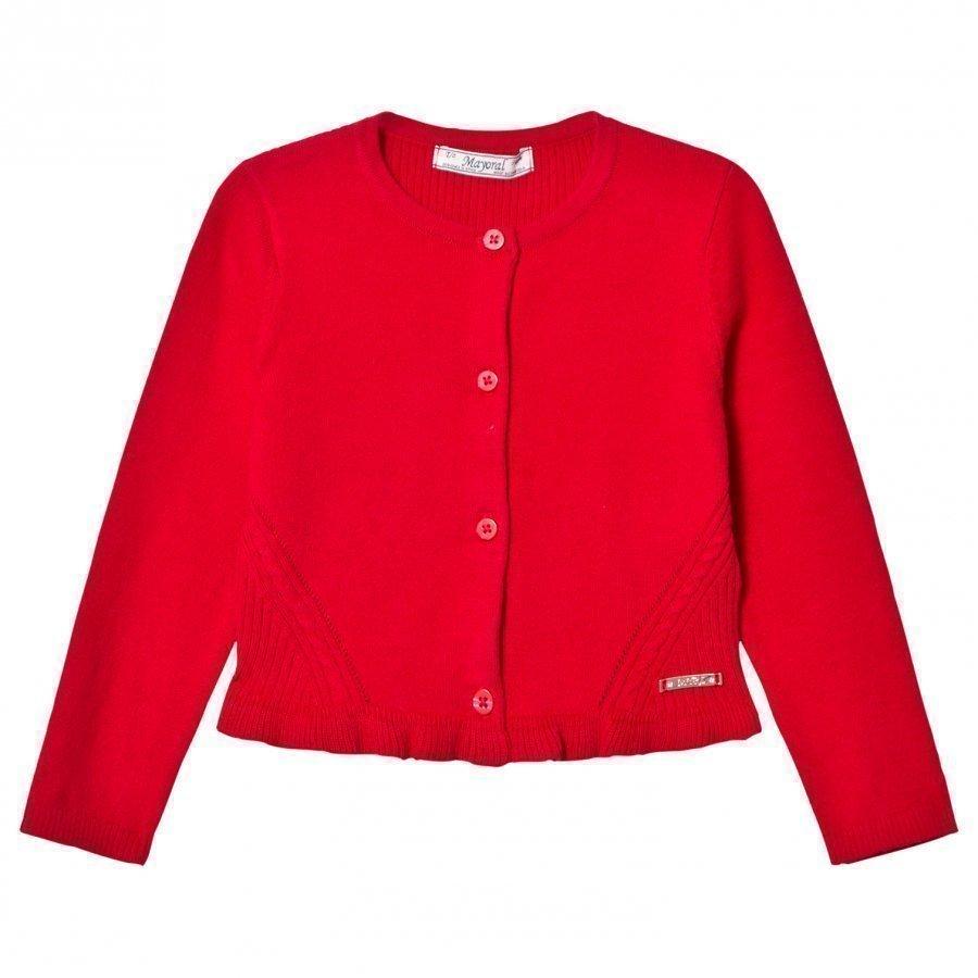 Mayoral Red Knitted Cardigan With Frill Hem Neuletakki