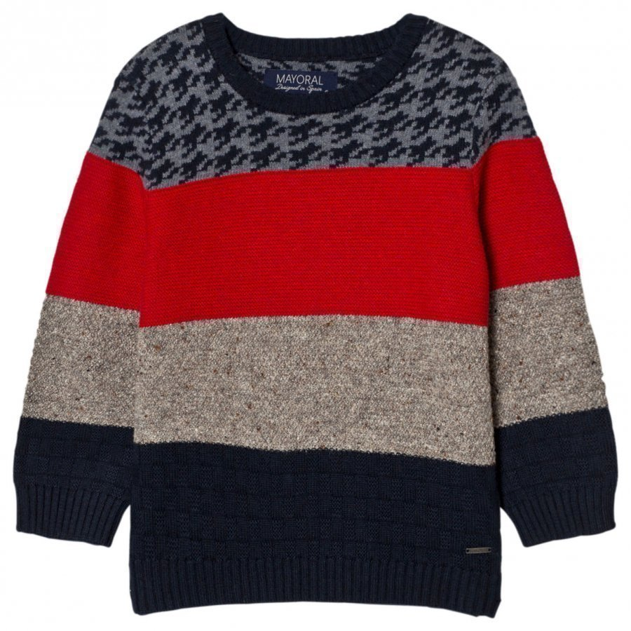 Mayoral Red Navy And Houndstooth Knit Jumper Paita