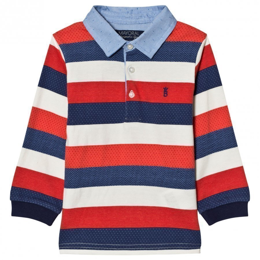 Mayoral Red White And Navy Stripe Polo Pikeepaita