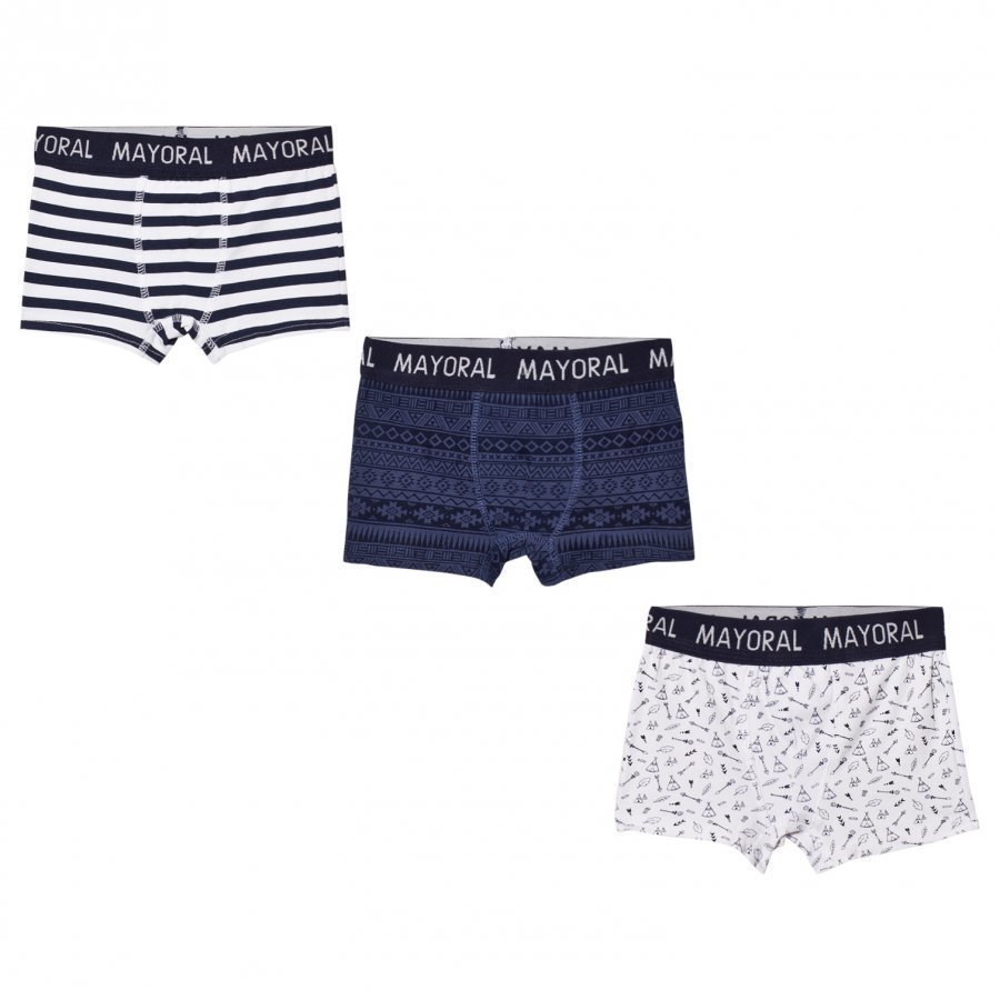 Mayoral Set Of 3 Navy Striped And Printed Boxers Bokserit