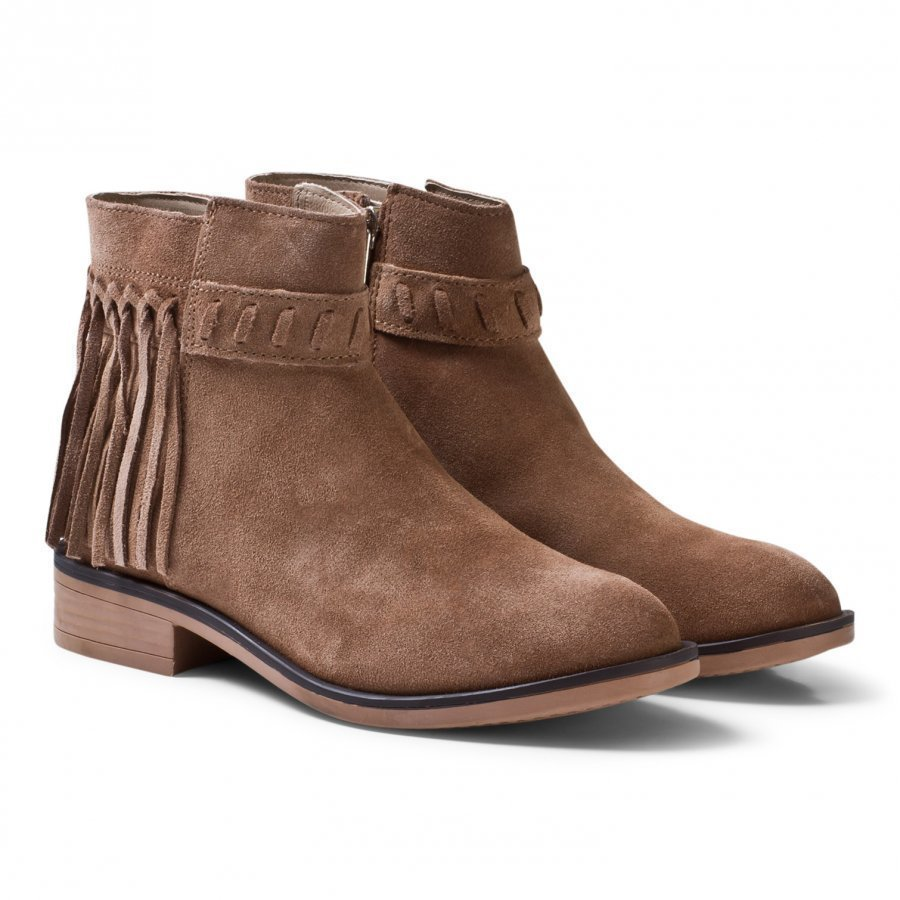 Mayoral Tan Leather Suede Fringed Boots Nilkkurit