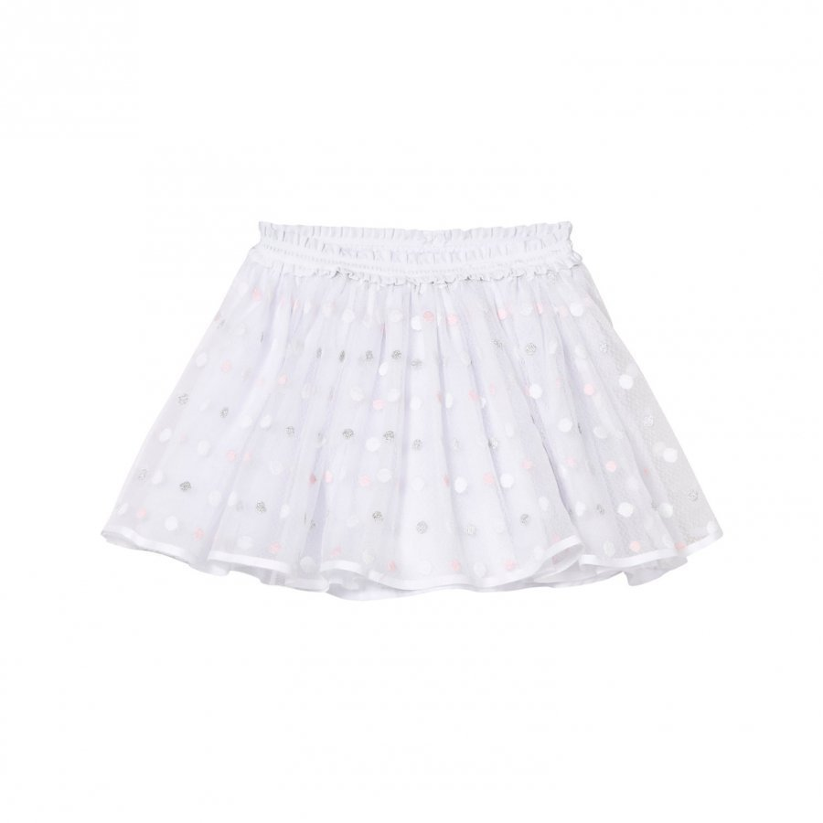 Mayoral White And Pink And Grey Lurex Skirt Lyhyt Hame