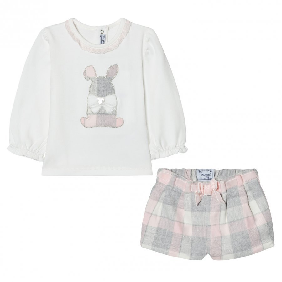 Mayoral White And Pink Plaid Bunny Tee And Shorts Set Asusetti