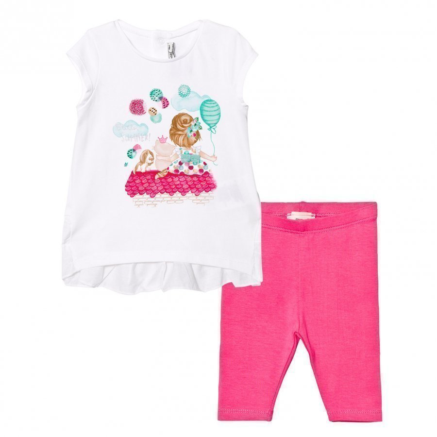 Mayoral White Girl And Puppy Print Tee And Pink Leggings Set Asusetti