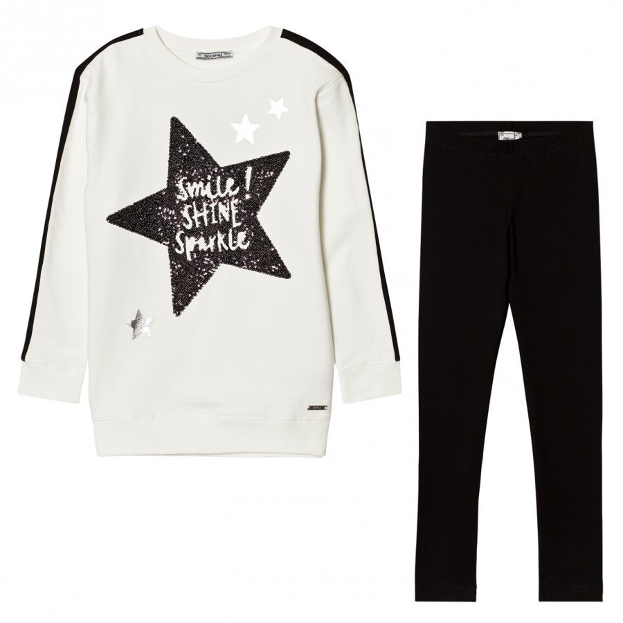 Mayoral White Glitter Star Print Tee And Leggings Set Asusetti