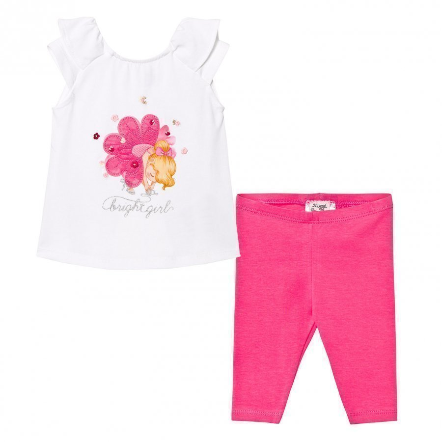 Mayoral White Tee And Leggings Set Flower Girl Print And Applique Asusetti