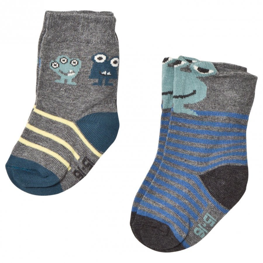Melton 2 Pack Alien Baby Socks Grey Sukat