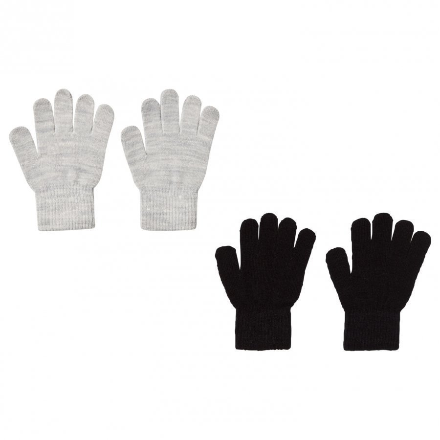 Melton 2 Pack Gloves Grey/Black Fleece Hanskat