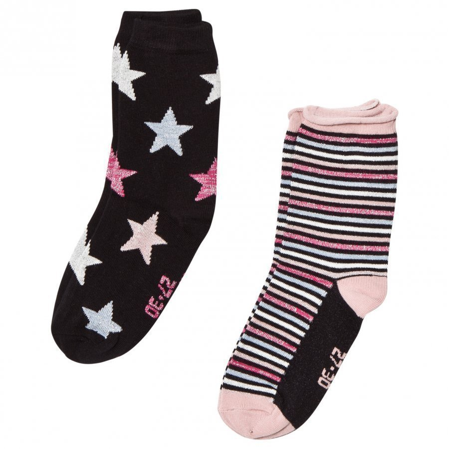 Melton 2 Pack Socks Star/Stripe Black Sukat