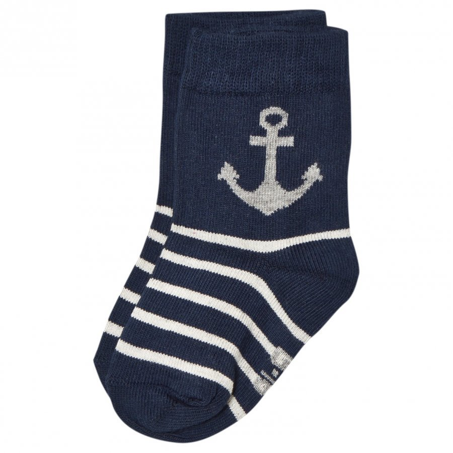 Melton Anchor & Stripe Baby Socks Navy Sukat