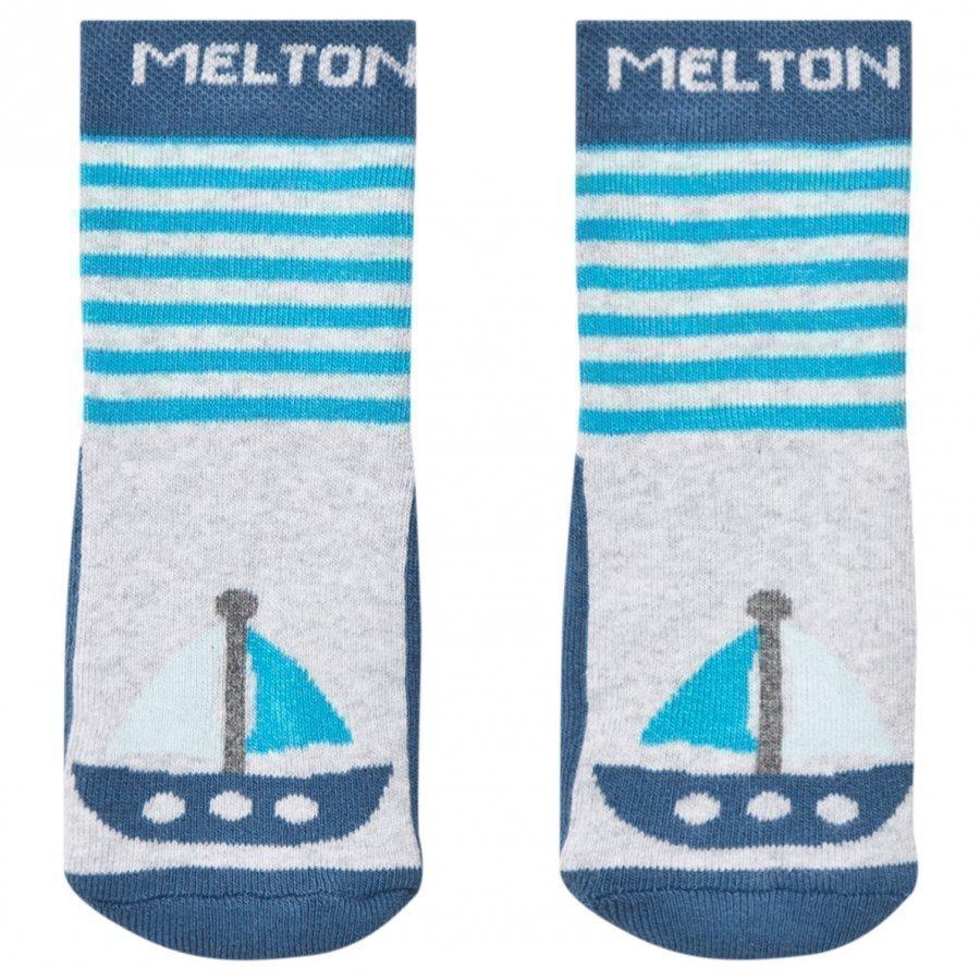 Melton Boat Pearl Socks Grey Melange Sukat