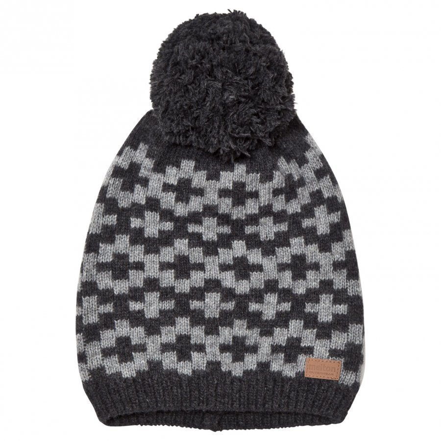 Melton Lamb Wool Knit Hat Dark Grey Pipo