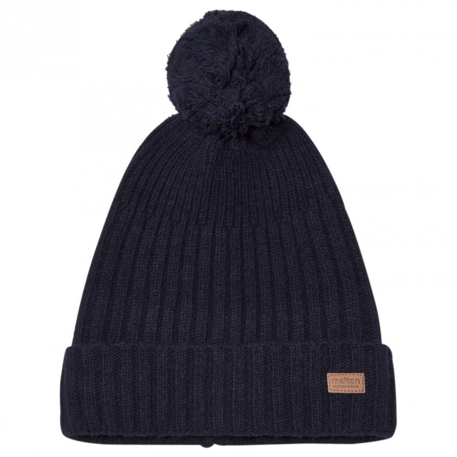 Melton Lamb Wool Knit Hat Marine Pipo