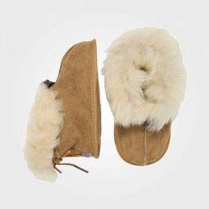 Melton Lambfur Shoe W/Toggle Camel Aamutossut